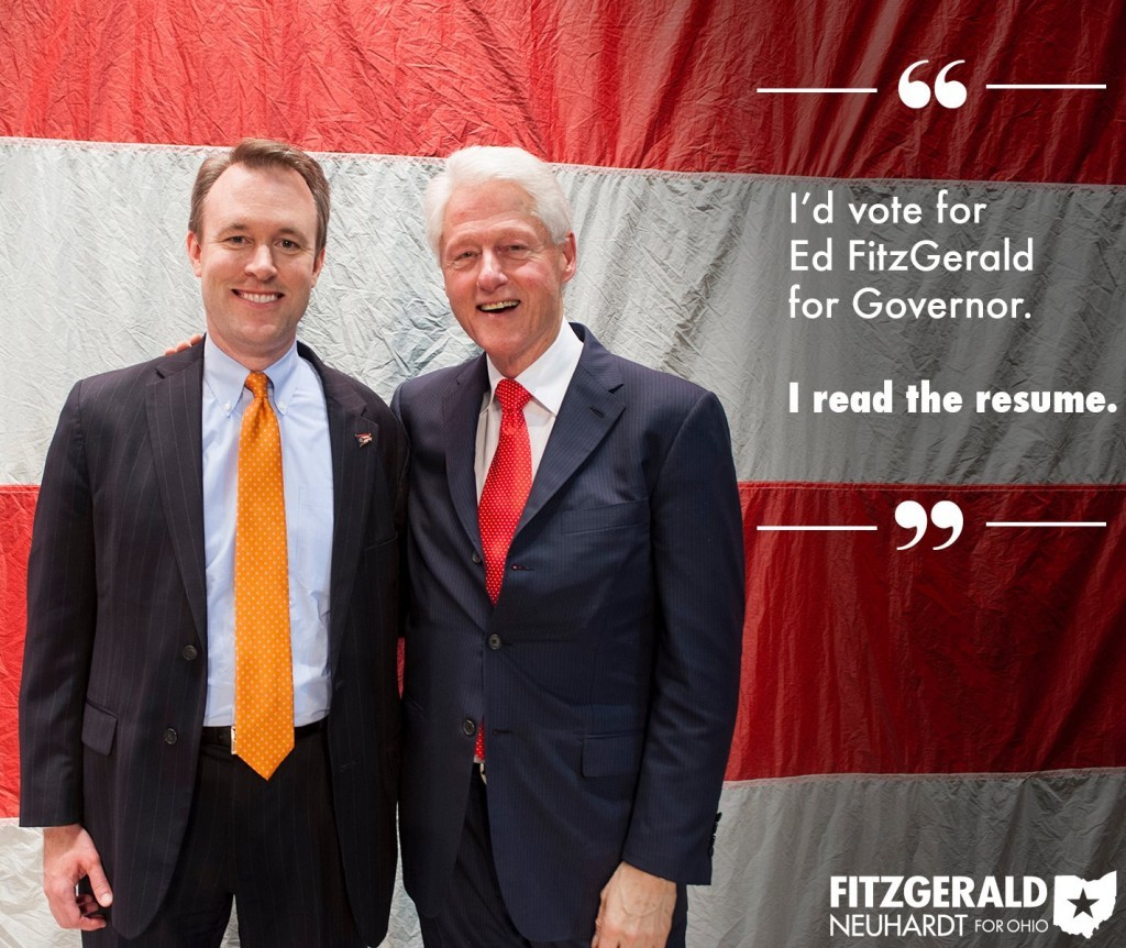 Ed Fitzgerald smiles like a groupie when he's with Bill Clinton.