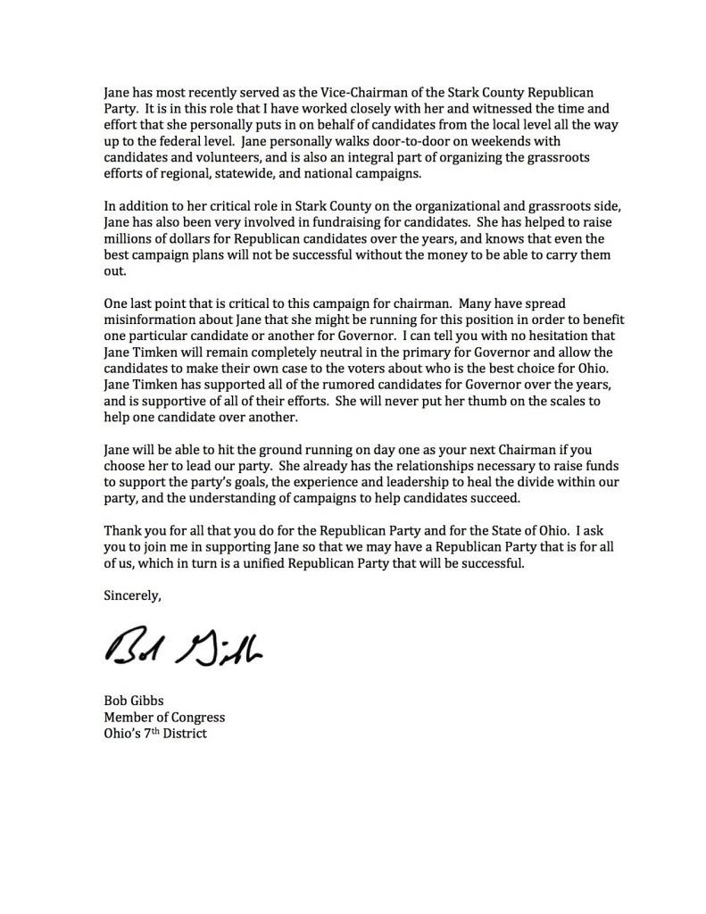 Bob Gibbs SCC letter